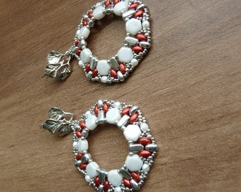 Modern beaded hoop earring silver & red