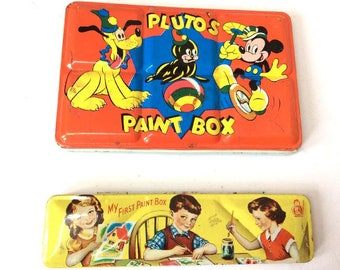2 Tins c1950:Plutos Paint Box & My First Paint Box, with some paints inside.