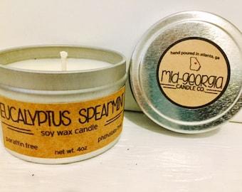 Eucalyptus + Spearmint Soy Candle Tin 4oz.