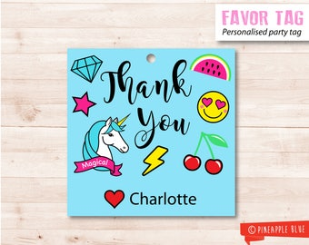 Emoji favor tag | Emoji party favor tag | Birthday favor tag | Party favor tag | Party gift tag | Unicorn favor gift tag