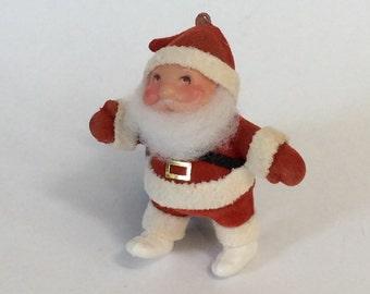 Vintage Flocked Plastic Santa Ornament
