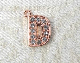 1 or 5, Initial Charm, Charm Bracelet, Rhinestone Letter, Rose Gold Letter, Initial Pendant, Alphabet Charm, Rose Gold Charm, ALF022d-RG