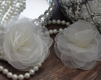 "SET OF TWO - 4"" Ivory Organza Large Fluffy Roses Flowers - Elegant - Beautiful - Hair Accessories - Wedding - TheFabFind"