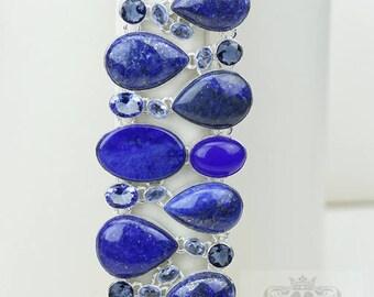 Gold Dotted Afghan GENUINE Lapis Lazuli 925 S0LID Sterling Silver Bracelet B2450