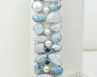Simple Yet Classy! Rainbow Moonstone GENUINE Caribbean Larimar Pearl Iolite 925 S0LID Sterling Silver Bracelet B2700
