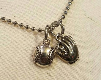 Baseball and Glove Charm Necklace