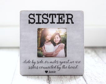 Sister Gift Personalized Picture Frame Sisters Best Friend Side by Side Quote