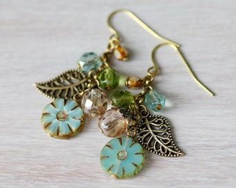 Flower and Leaf Cluster Earrings, Czech Glass and Antiqued Brass Cluster Earrings, Handmade Earrings