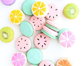 15 Macarons, French Macarons, Fruit Macarons, Custom Macarons, Pretty Macarons, Painted Macarons, Color Macarons, Watermelon Macarons, Paris