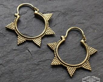 Brass hoop earrings, tribal jewelry, brass earrings, boho jewelry, tribal earrings