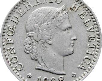 1938 Switzerland 20 Rappen Coin