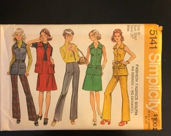 1970 Vintage Simplicity Pattern #5141- Women's Pants, Skirt, and Vest, Retro Sewing Pattern, Size 10, Bust 32 1/2, Waist 25