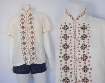 Vintage hand embroidered silk blouse, 70s boho top - mandarin collar, embroidered shirt, pure silk shirt, cross stitch, chinese embroidery