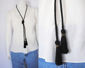 90s black tassel necklace, vintage wrap necklace -- wrap around, cord necklace, long tassel, tassel choker, lariat, 1990s 90s necklace