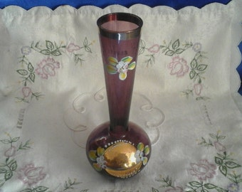 Bohemian Amethyst Glass Vase Gold & Enamel Paint