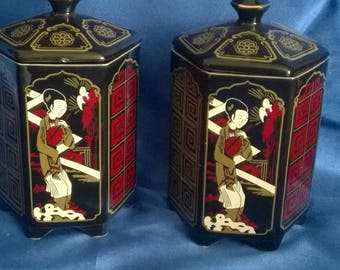 Pair of Burgess & Leigh Tea Caddy's, Chinese Design 'Morning Stroll'  Made in England
