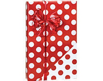 Red and White Polka Dot Reversible Double Sided Gift Wrapping Paper 15ft
