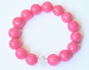 Bubble Gum Pink Jade Bracelet, big Mountain Jade stretch bracelet 1103 B