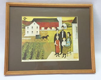 Constantine Kermes Vintage Print / Rural Island / Framed and Matted with Glass