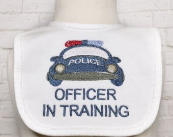 Law Enforcement Baby - Police Officer - Law Enforcement - Police Baby Announcement - Thin Blue Line - Police Badge- Officer In Training- Bib
