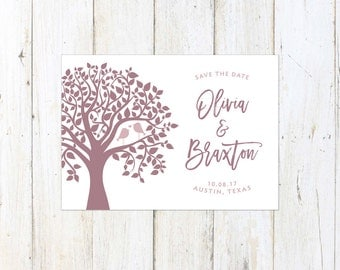 Birds in a Tree Save the Date, Cute Save the Date, Kissing Birds Save the Date, Mauve and Blush
