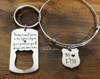 Personalized Jewelry, Protect and Serve Police Badge Keychain &/or Necklace, Engraved Police Officer Gift, Police Officer/Wife Gift