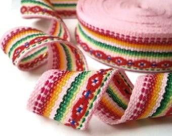 "jacquard ribbon trim pink ribbon trim embellishment craft ribbon 35 mm/1.37"" wide x 5.0 m/5.46 yd"