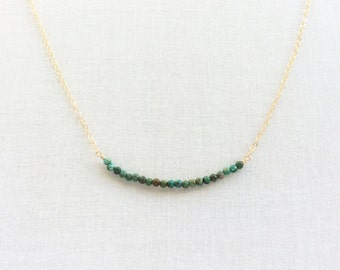 Tiny Turquoise Necklace - Dainty Turquoise Necklace - Gold Turquoise Necklace - Small Turquoise Necklace - Gold Filled Necklace - 2 mm