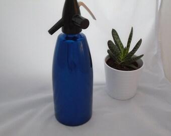 Vintage soda syphon~retro soda syphon~mid century soda syphon~Hungary~blue soda syphon~vintage soda fountain~anodised metal soda syphon