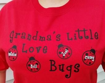 Grandma's Love Bugs - Personalized Grandparent T-shirt