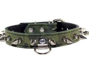 Green Camo Leather BDSM Collar, Spiked Green Camo Leather Human Collar, Green Camo Leather Human Collar, Green Camo Leather Collar w/ Spikes