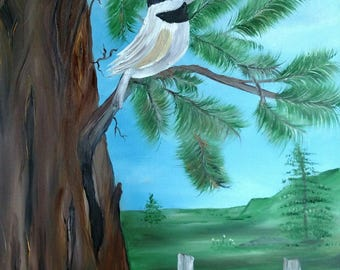 Chickadee on pine branch old fence oil on wrapped canvas 16 x 20