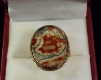 Rare Victorian 9 ct Gold With Moss Agate