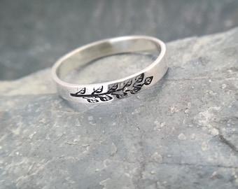 Silver Ring, Nature Jewelry, Leaf Ring, Fern Ring, Textured Ring, Stacking Ring, Sterling Silver Rings, Minimalist Jewelry, Pattern