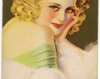 """Rare Mutoscope Arcade Exhibit """"Soldiers Sweetheart"""" Pin-Up Card, Billy Devorss, ca 1940"""