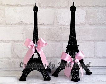 10 inch Black Eiffel Tower Cake Topper, Black and Pink Paris Topper, Paris Themed Party Decor, 1 Tower Included