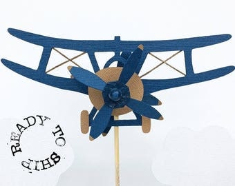 Spinning Biplane Cake Topper *Ready to ship*, Airplane Birthday Party, Going Away Party Decoration, Dark Blue and Burlap Airplane w/ Clouds