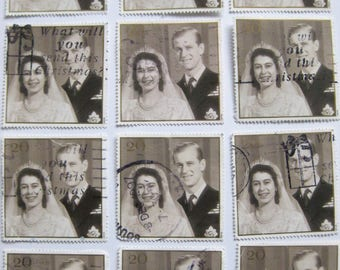 20 UK/GB Royal Wedding postage stamps - photo from 1947. Great for crafts projects.