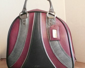 Vintage grey and burgandy bowling bag with name tag tote/carryall