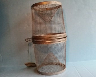 Vintage fishing- metal minnow trap with tag