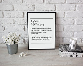 Definition Engineer - Definition Engineer Digital Download Art Typography Funny Print Inspirational Prints Digital Prints Inspirational PDF