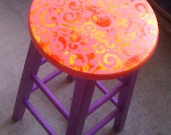 Bar Stool, Hand painted wood bar stool, Whimsical bar stool, Upcycled Wooden Stool, Hand painted renovated refurbished wood bar stool