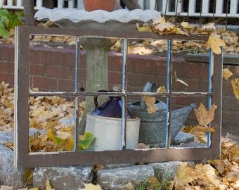 Vintage Eight Pane Window Frame, Large Frame, Distressed Chippy Paint, Farmhouse Antiques, Barn Windows, Rustic Home Decor, Vintage Sash