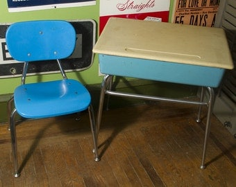 Amazing Vintage School Desk And Chair, Vintage Baby Blue Childrens Desk, Childs  Seat And Desk