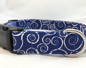 Blue swirl Dog Collar - Blue Dog Collar - Dog Collar - Blue Graphic Dog Collar - Dog Collar for Boys - Dog Collar for Girls - Modern  Collar