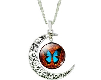 Glass Butterfly Charm Silver Plated Moon Pendant Necklace 18 Inches
