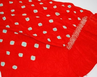 Vibrant Red Polka Dots – Vintage Japanese Silk Obi Scarf