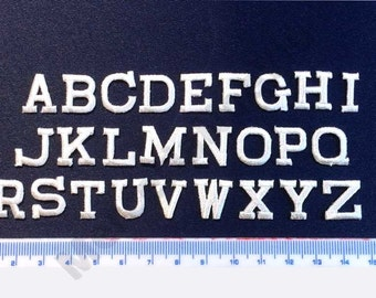 """Iron on patch alphabet white embroidered letters COLLEGE style name surname kindergarten retirement home 0,6"""""""