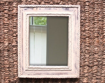Wooden Wall Mirror, Wooden Mirror frame,Cotton Twine, Pallet Wood, Cream and Brown, Handmade, Hand Painted/Finished, Wall Hanging, Upcycled.
