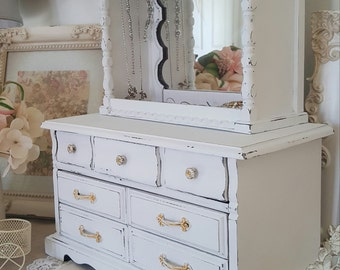 White Vintage 15 inches,Vintage Jewelry Armoire, French country,gift for her, vintage décor, Wood Jewelry Box, hutch